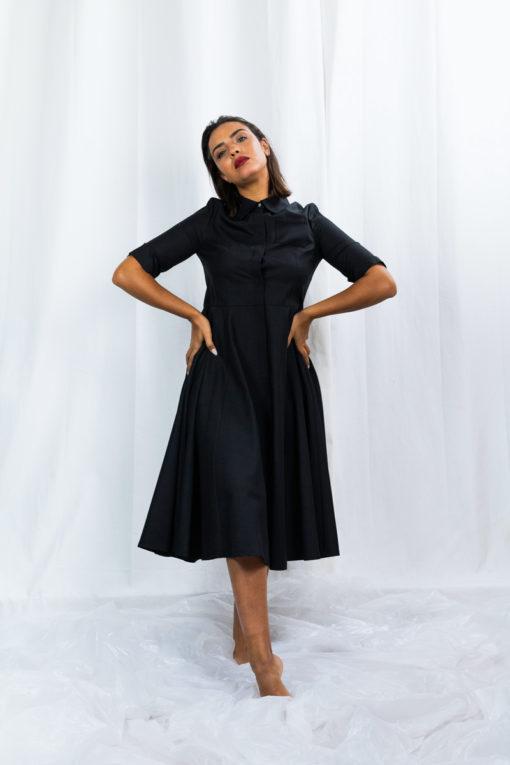 L'essentiel robe-chemise noire so yvette