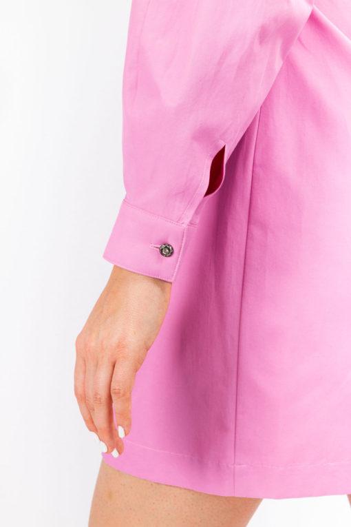 boutons bijoux de la robe chemise rose coton