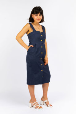 robe bretelle boutonnée so yvette blue jean upcycling so yvette
