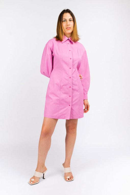 robe chemise manche bouffante et upcycling fabrics