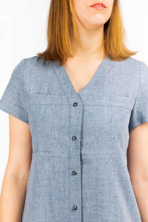 details bouton tissu upcycle robe chemise