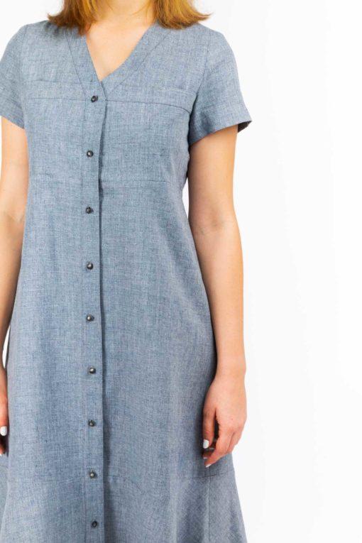 detail buste confort robe chemise jeanne gris naturel