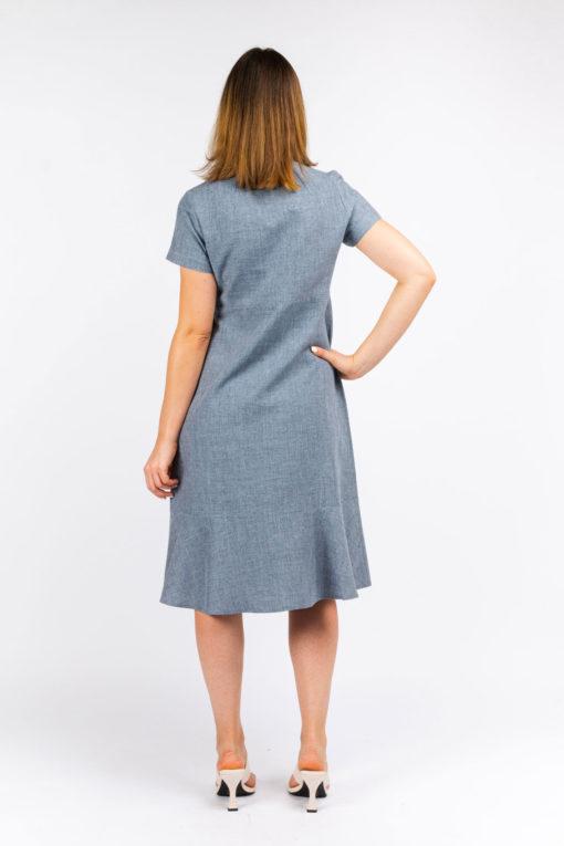 detail dos robe chemise so yvette gris tendre ethique