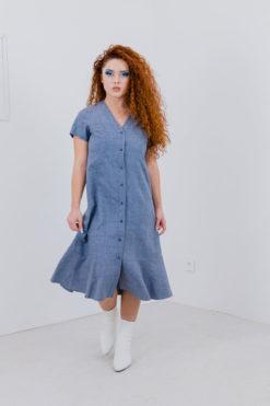 la robe grise jeanne en coton et soie pour un style chic et ethique