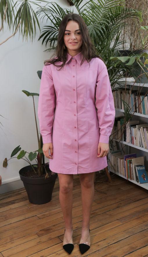 Robe-chemise éthique rose édith